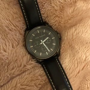 Ted Baker men's black leather band watch